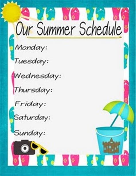 daily summer schedule printable summer daily schedule free printable summer bucket list