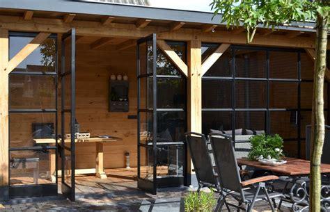 glaswand veranda eiken veranda met stalen taatsdeuren in ederveen hab 233