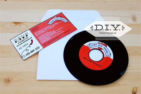printable record invitations items similar to diy printable rockabilly record