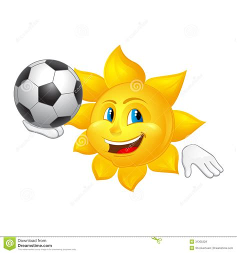 soccer in sun and sun is playing football isolated on white background stock illustration image 31305229