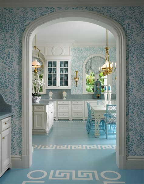pastel blue classical kitchen interiors  color