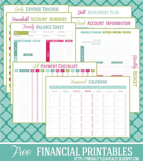 free printable financial management planners trackers