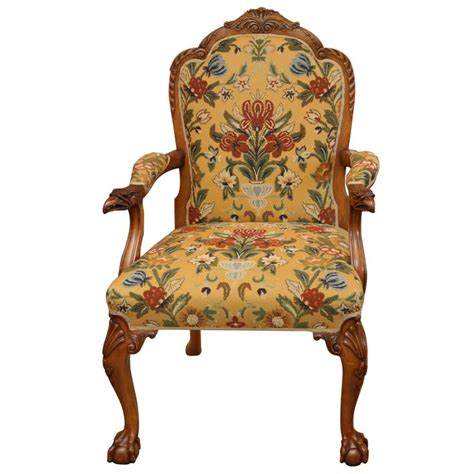 Carved Armchair by Carved Eagle Armchair With Floral Upholstery At 1stdibs