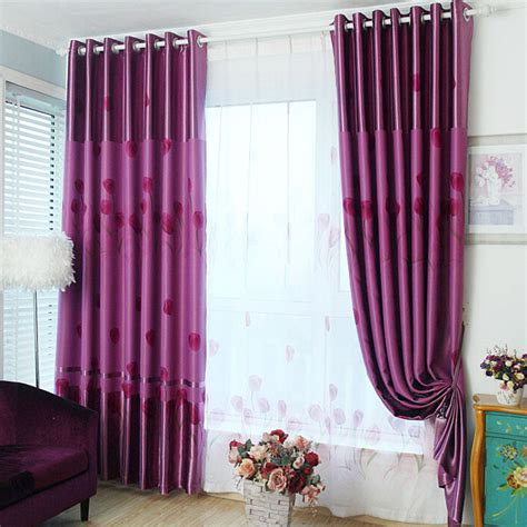 thick purple curtains thick polyester thermal blackout qualities floral pattern