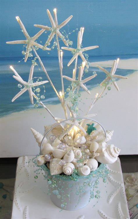 seashell starfish light up wedding centerpiece wedding decoration