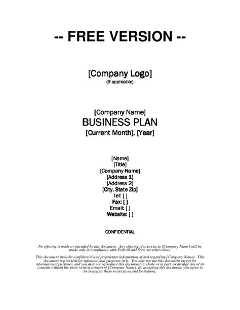 free business plan template word doc growthink business plan template free