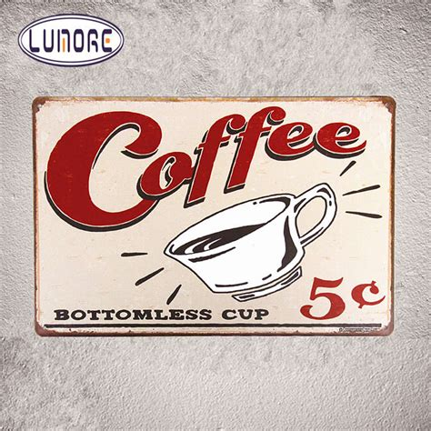 Poster Dinding Dekorasi Bar Coffee Cafe quot 5 cent bottomless cup quot metal tin poster coffee signs distressed humor retro restaurant