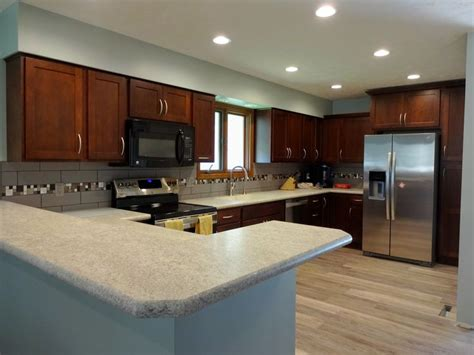 Staining Laminate Countertops by Fieldstone Cabinets With Brighton Door Style In Cherry