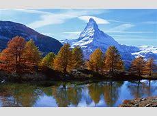 Landscape Mountain Rocky Alpine Peak With Snow Autumn ... Matterhorn