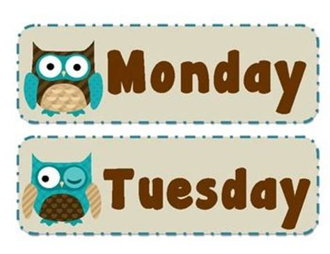 what is the day today in week days of the week in an owl theme also included is today
