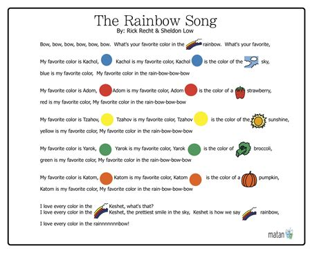 color song lyrics the rainbow song matan