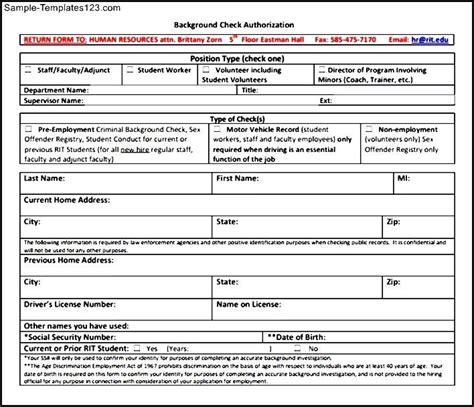 background check form template sle templates