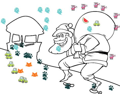 papa noel chimenea dibujo de pap 225 noel y chimenea pintado por en dibujos net