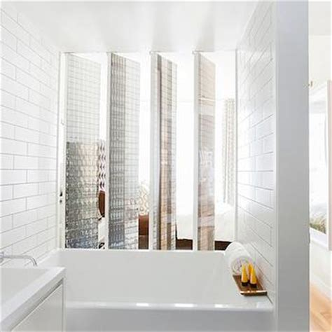 subway tile shower mirrored bathroom partitions modern mirrored subway tiles design decor photos pictures