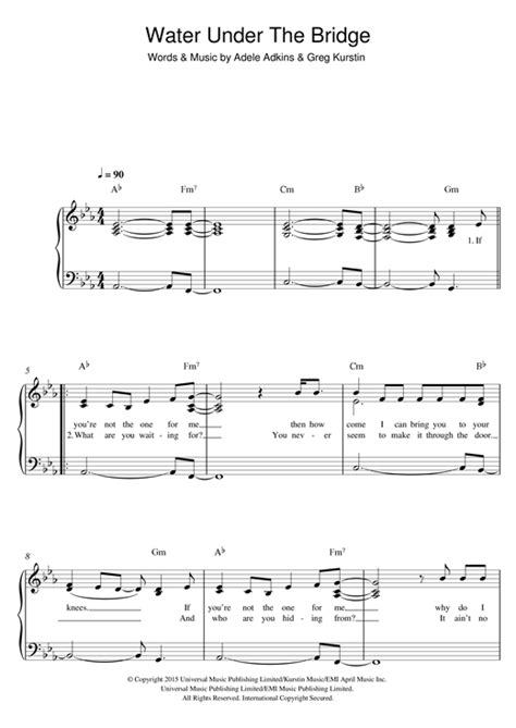 water under the bridge by adele easy guitar tab guitar water under the bridge sheet music by adele easy piano