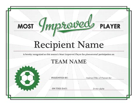 player of the day certificate template most improved player award certificate office templates