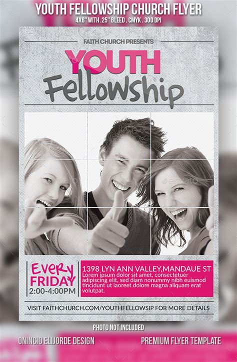 Youth Fellowship Church Flyer By Confianza Graphicriver Youth Flyer Templates
