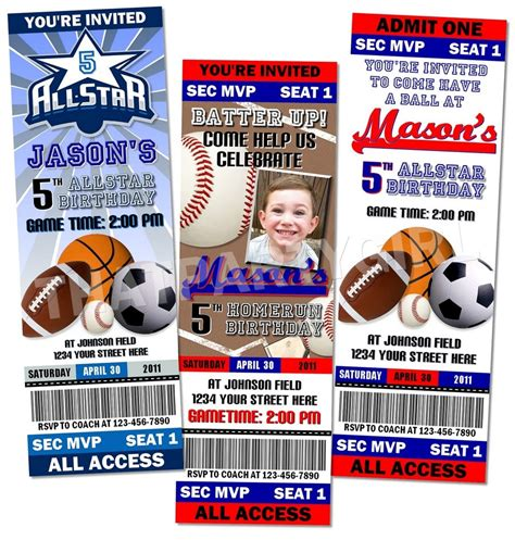 sport ticket template sports birthday ticket style invitations favors mvp