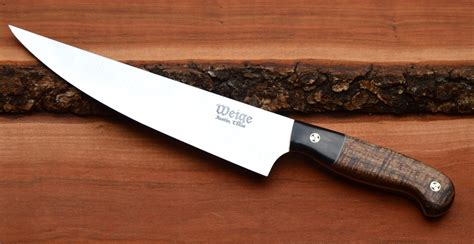 Handcrafted Chef Knives - custom chef knife with hawaiian mango handle weige