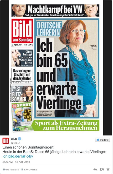 65 year old german woman pregnant with quadruplets this 65 year old german mum of 13 kids is pregnant with