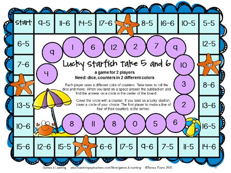 subtraction printable board games fun games 4 learning math games makeover