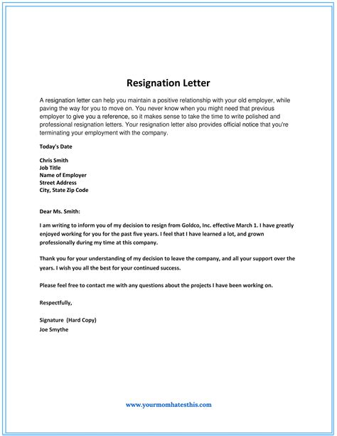 Resignation Letter Template by Dos And Don Ts For A Resignation Letter
