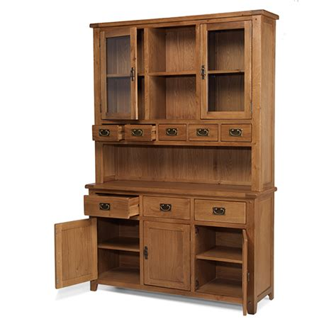 Dresser Unit by Aylesbury Glass Fronted Solid Rustic Oak Large Display