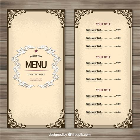 menu templates for ornamental menu template vector free