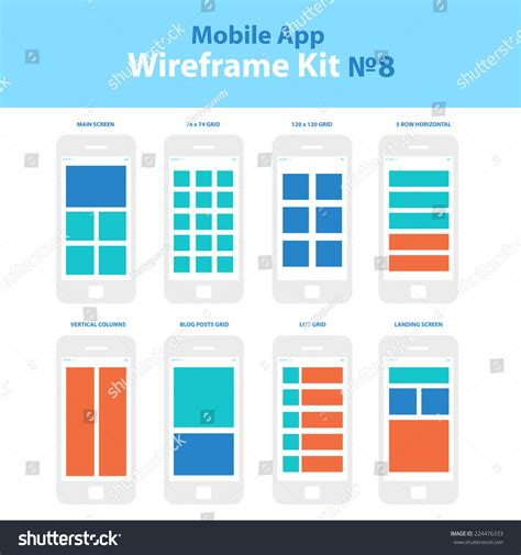 app layout grid wireframe mobile app ui kit 8 stock vector 224476333