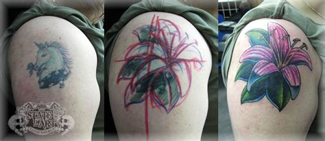 Flower Cover Up 2 By State Of Art Tattoo On Deviantart Black Flower Tattoos Cover Ups 2