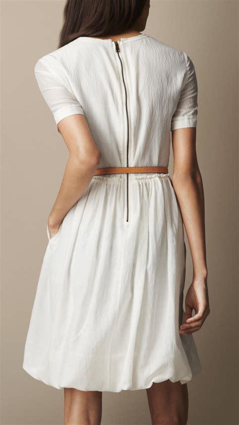 Cotton Dress 30513 2 burberry brit gathered waist silk cotton dress in white lyst