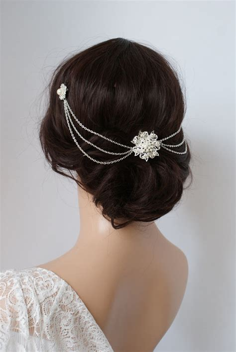 wedding hairstyles with pearls wedding headpiece with pearls silver headchain bridal hair