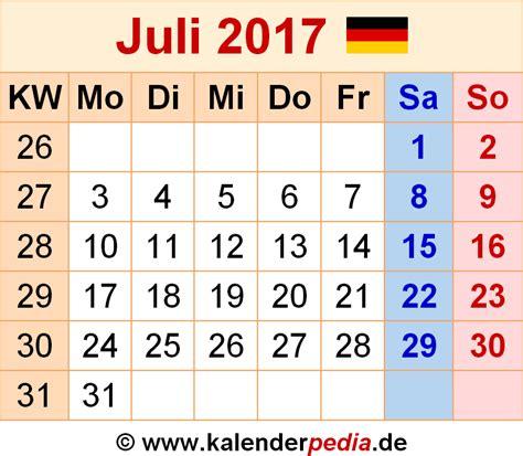 Juli Kalender 2017 Kalender Juli 2017 Als Word Vorlagen