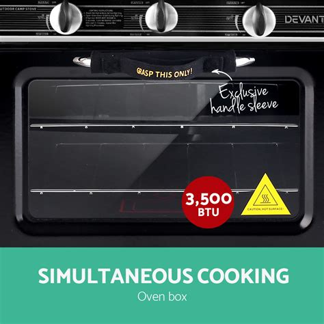 devanti  burner portable oven silver black bargainsgo
