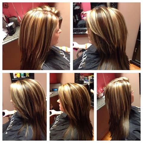 foil highlights for brown hair brunette with blonde chunky highlights brown and blonde