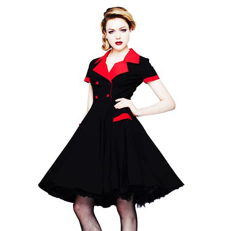red swing dress vintage hell bunny love day black red retro 1950s vintage fit n
