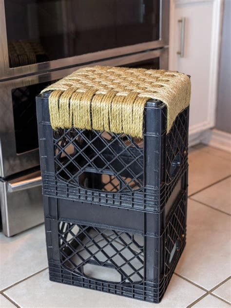 design with milk crates turn a crate into a kitchen stool hgtv
