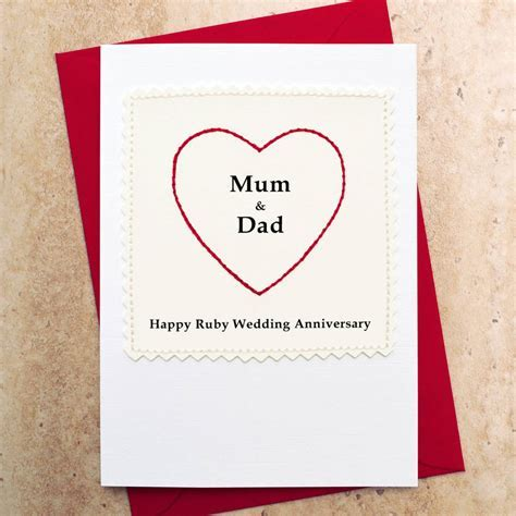 ruby wedding anniversary card 'mum and dad' by jenny