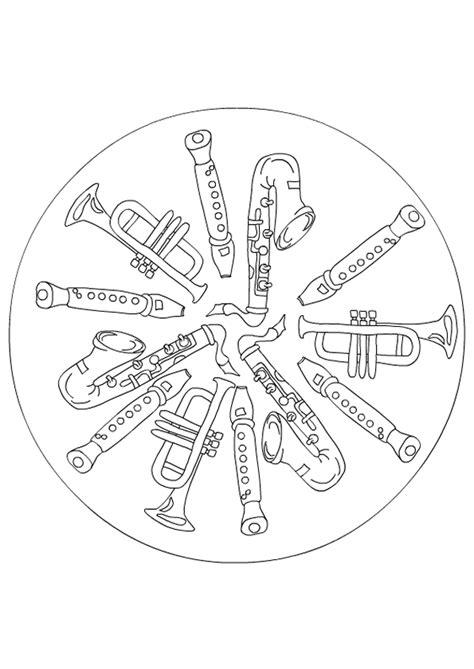 imagenes de mandalas de musica coloriage musique mandala flutes et saxophones