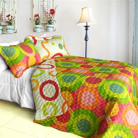 King Size Patchwork Quilts - onitiva qts01036 4 colorful doughnut 3pc patchwork quilt