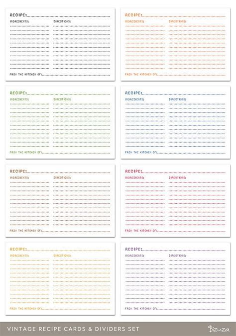 printable 4x6 recipe card dividers printable recipe cards and dividers 4x6 editable pdf