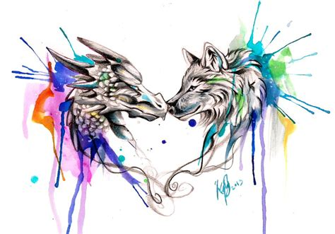 dragon and wolf color splash design by lucky978 on deviantart