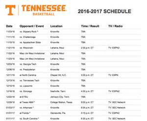 Ut Basketball Schedule Tennessee Releases Hoops Schedule For 2016 17 Rocky Top