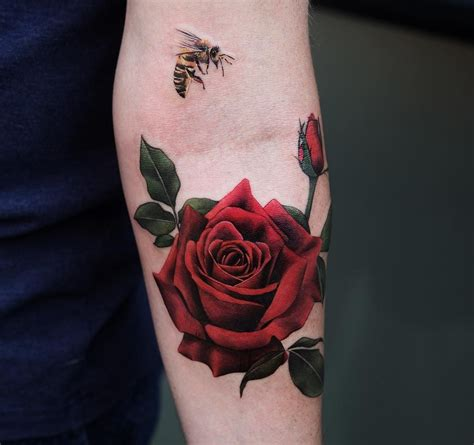 red roses tattoo and bee by joice wang floral tattoos