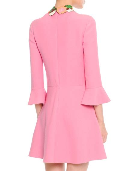 valentino 3 4 sleeve leather collared dress