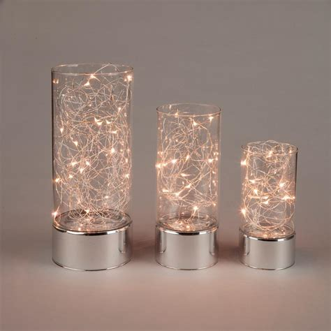 Living Room Vase Decoration Everlasting Glow Clear Glass Hurricane Jars With Micro Led