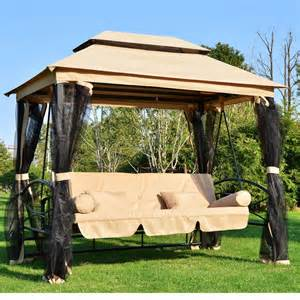 Outdoor Gazebo Swing Bed by Deluxe Patio Swing With Canopy Instant Knowledge