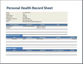 personal health record template personal health record worksheet template word