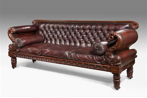 leather regency antique sofa by gillows of lancaster