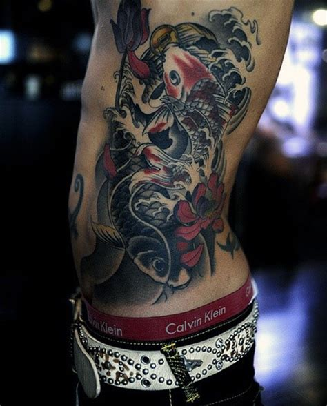 koi fish rib tattoo 50 koi fish tattoo designs for men japanese symbol of